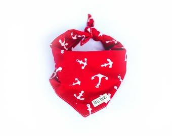 Red and White Anchor Bandana