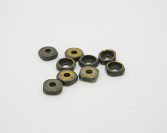 lot 24 x 6mm bronze metal rondelle bead
