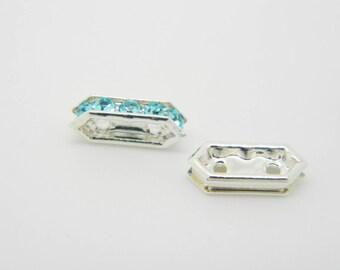 2 x (l898) 10mm aquamarine swarovski crystal rhinestone Barrette