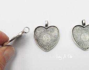 25mm Silvertone Heart Pendant Trays x 3, Jewellery Making, Cold Enamelling, Pendants