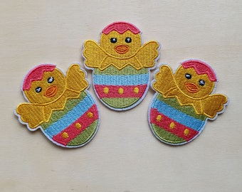 A dozen - 12pcs - Easter Chick in Egg Embroidered Iron on Patch Applique embroidery