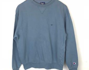 Rare!!! Vintage!!! Champion Sweatshirt Pullover Small Logo Embroidery Sport Wear Jumper