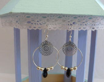 Filigree silver hoops and black Swarovski