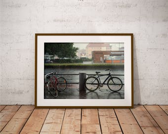 Metal Print - Bikes In The Rain, Photography - Metalic Aluminum Print, Fine Art, Wall Art, Nature Print, Home Decor, Photography