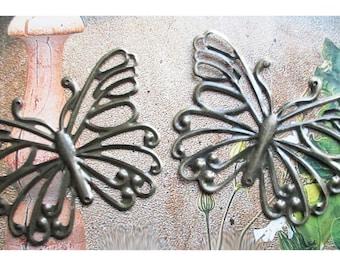 """bronze metal 2 connectors pendants """"Butterfly"""" openwork"""""""