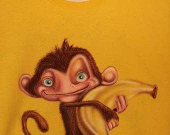 banana monkey t-shirt airbrushing
