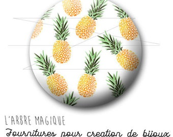 2 cabochons glue pineapple fruit exotic ref 1745 - 18 mm