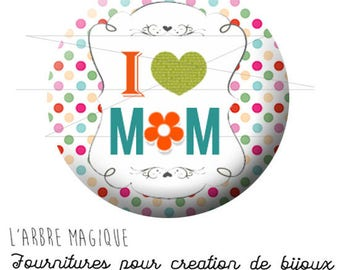 2 cabochons glue I mother's day love Mom small multicolor 1768 ref - 16 mm-