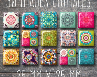 Square digital images, 25 x 25 mm, Morocco, Moroccan, Oriental, Floral mosaic