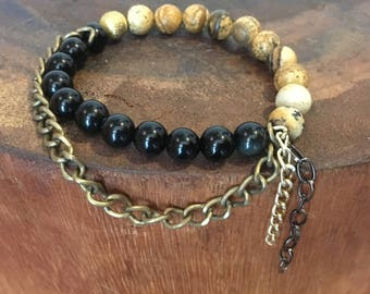 Picture Jasper and Black Onyx Obsidian Beaded Bracelet.  Stacked gemstone bracelet.