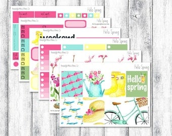 Hello Spring // Erin Condren Vertical // Weekly Sticker Kit