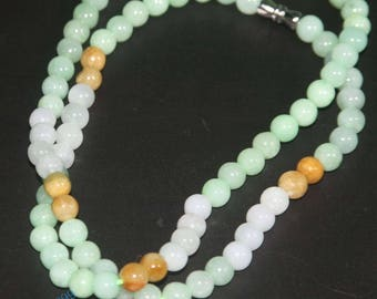 Certified 3 Color 100% Natural Grade A JADE Jadeite 7 mm Beads Necklace