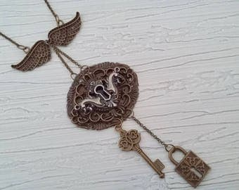 Steampunk with a silver lock pendant necklace