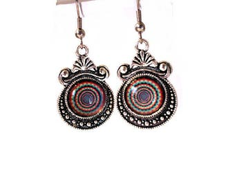 Earrings cabochon multicoloured rings