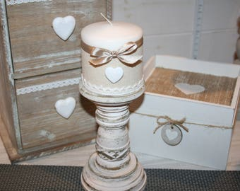 Ivory distressed wooden candle holder and taupe shabby lace and heart