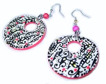 Earrings; dangling earrings; hoops; Red; Black; White