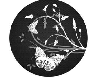 cabochon 25mm, 2 Butterfly white on black