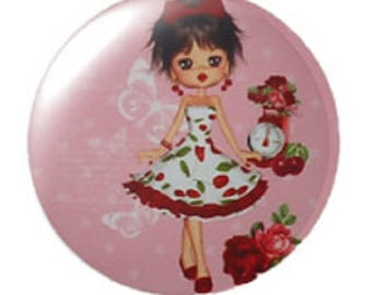 miss cherry, small pinup cabochon, 25mm