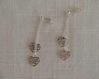 Sterling Silver earrings dangle hearts