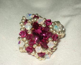 Fuchsia with navette swarovski and pearls ring