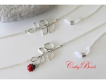 Silver metal, glasses chain branch Tibetan silver
