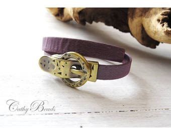 Ribbon Bracelet plum semi-rigid textile
