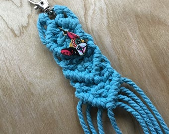 Lake Blue Macrame Boston Terrier / French Bulldog Keychain