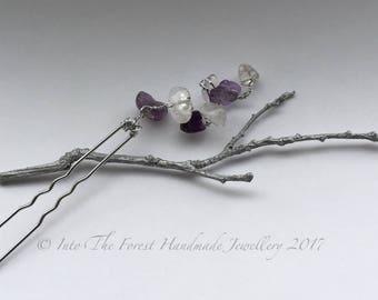 Amethyst and clear quartz crystal hair pin