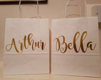 Rose gold, gold, silver personalised gift bags, children's favours, weddings, bridesmaid bags, bridal party bags.