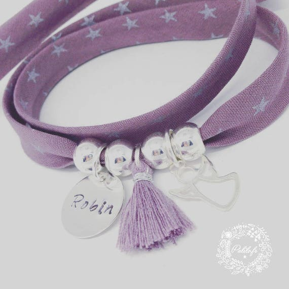 Personalized Bracelet GriGri XL Liberty with custom engraving, small Angel silver tassel by Palilo