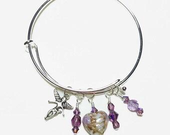 Be Charmed February Amethyst Bangle Bracelet