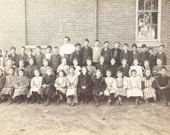 Antique Sepia Photograph of Gradeschool Children
