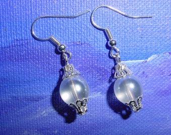Earrings 10 mm white glass beads