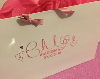 White gliss gift bags in a range of colours and fonts