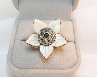 Signed Heidi Daus MOP Flower Ring Light Blue Baguette Rhinestones Vintage