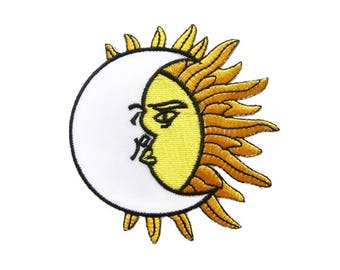 Sunshine Iron On Patch Celestial Embroidered Applique Patches For Jackets
