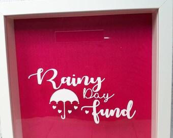 Rainy Day Fund, Money box, Rainy Day, saving frame, adventure fund, coin jar, piggybank, money bank, wedding fund, personalised savings
