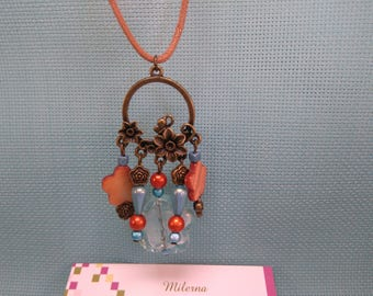 §81§ necklace with pretty blue and orange beads