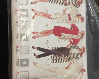 Pattern Butterick jacket dress tunic skirt scarf pants Tube 1988 size XS - M