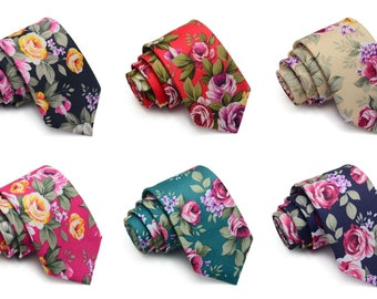 Groomsmen Floral Skinny Tie