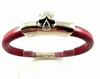 Punk Bracelet, Red Leather Bracelet, Stainless Steel Skull Bracelet, Regaliz Leather, Goth Bracelet, Halloween, Birthday, Christmas Gift