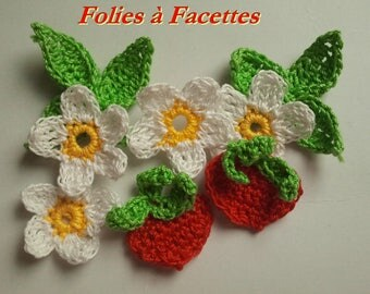 Flowers and leaves of crochet cotton with fruits Strawberry