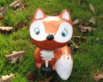 Figurine Fox and vixen flirtatious paper mache