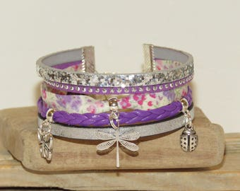 """Bouquet of violets"" Cuff Bracelet with glitter, color purple, lilac, purple Suede, leather,"