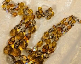 Vintage Vogue Necklace and Earrings Amber Glass Demi Parure Set