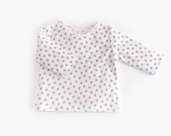 Gray Stars 100% organic cotton Baby Long-sleeved T-shirt