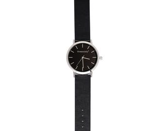 Leather Watch, time, round watch, minimal watch, silver, black, band