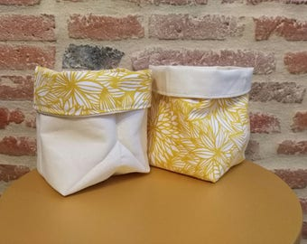 reversible fabric basket beige canvas and yellow flowers