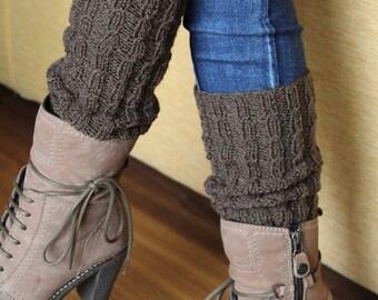 Knitting wool made leg warmers
