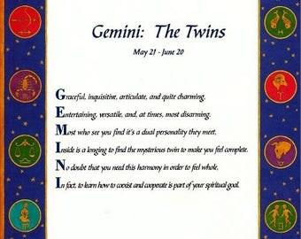 """It's in the Stars """"Gemini"""" Acrostic Poem Print"""